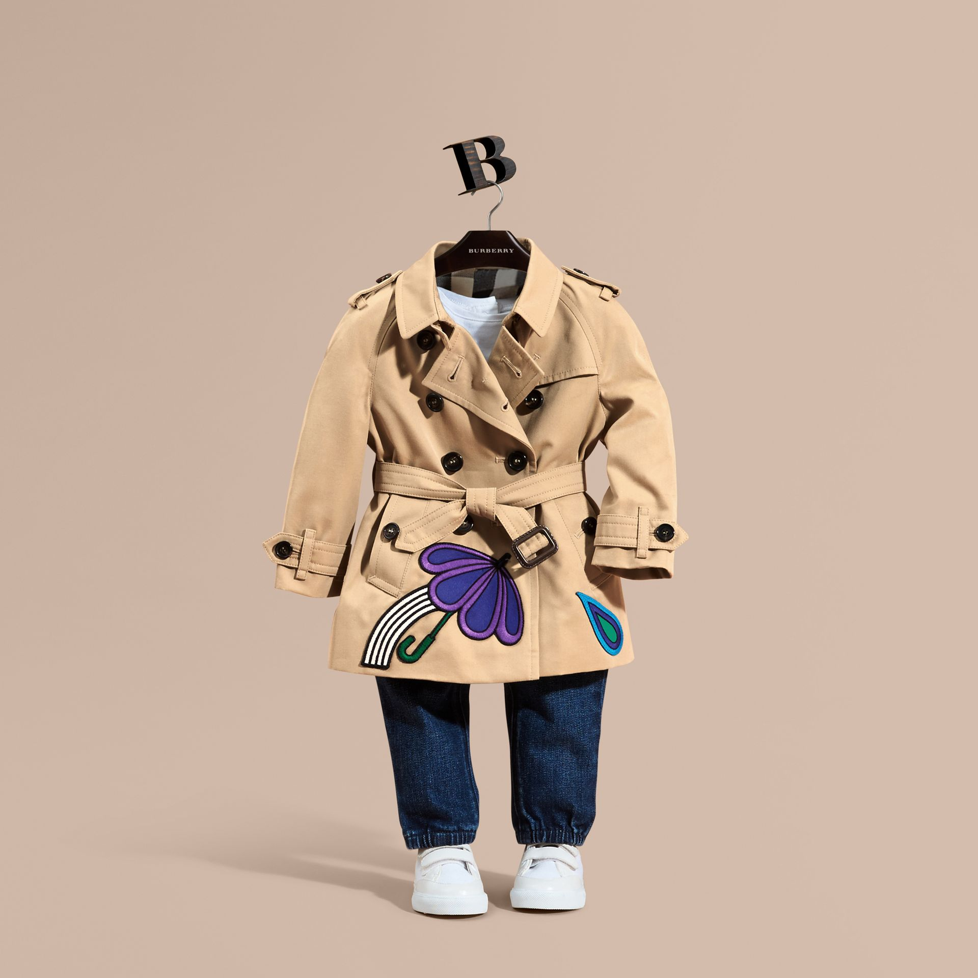 Cotton Trench Coat with Embroidered Weather Appliqués - gallery image 1