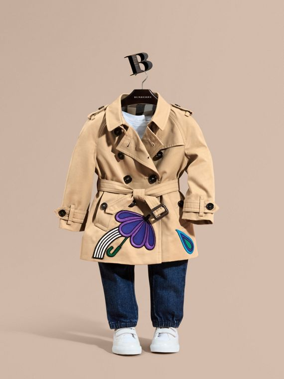 Cotton Trench Coat with Embroidered Weather Appliqués