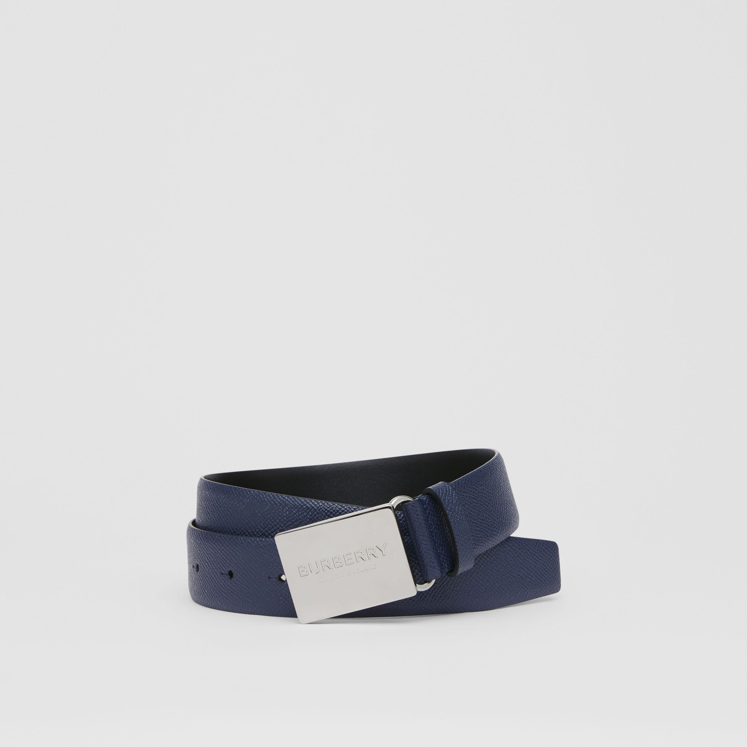 Plaque Buckle Grainy Leather Belt in Navy - Women | Burberry - 1