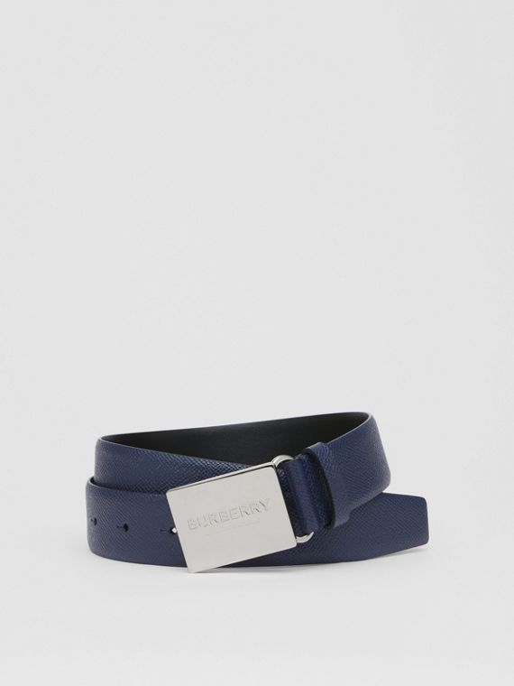 Plaque Buckle Grainy Leather Belt in Navy
