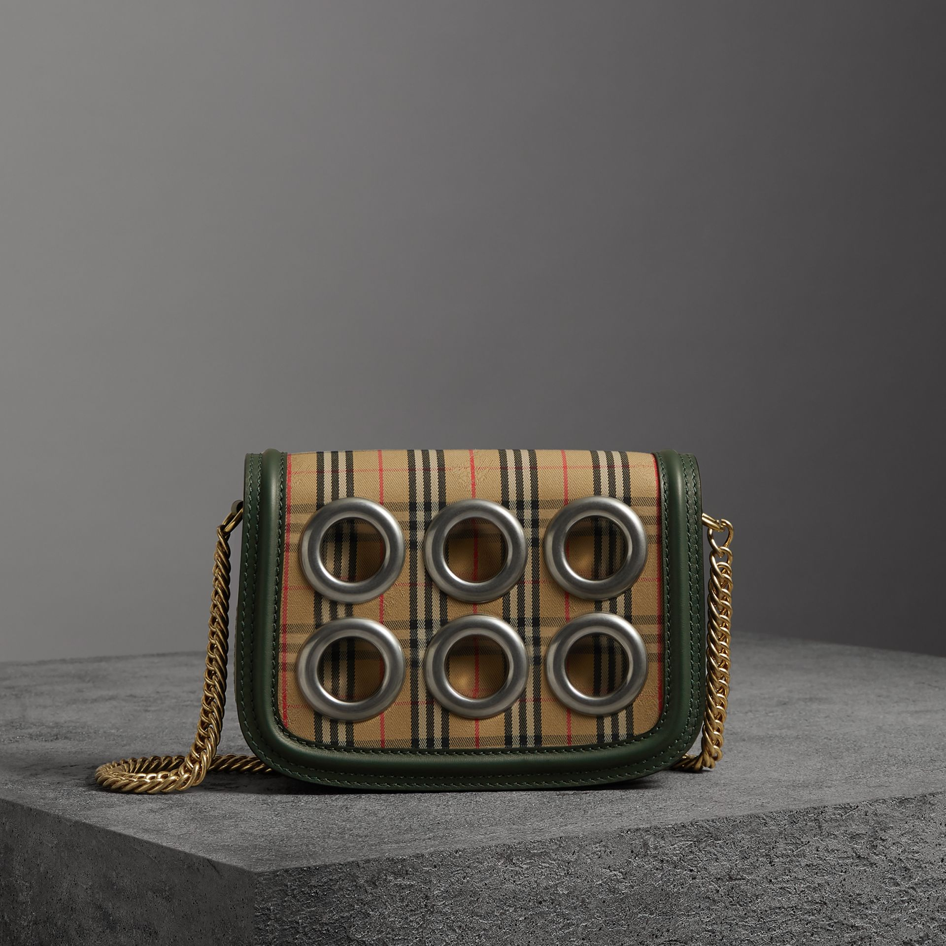 The 1983 Check Link Bag with Grommet Detail in Dark Forest Green - Women | Burberry United Kingdom - gallery image 0