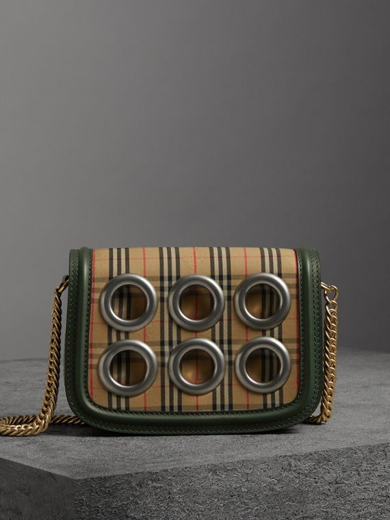 The 1983 Check Link Bag with Grommet Detail in Dark Forest Green
