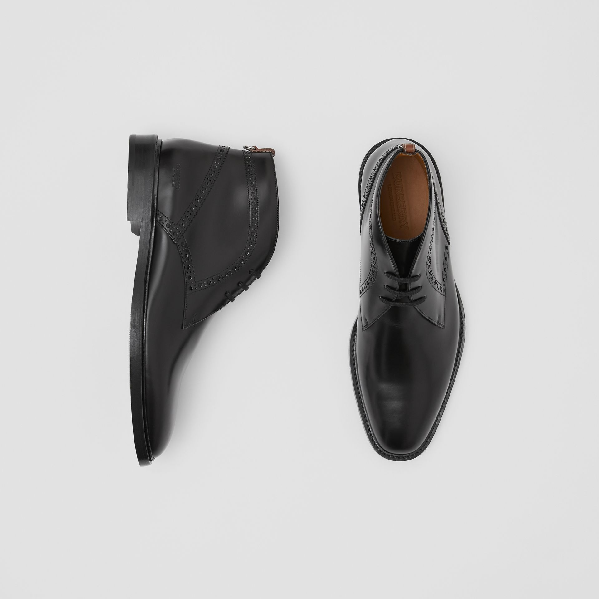 Brogue Detail Leather Boots in Black - Men | Burberry - gallery image 0