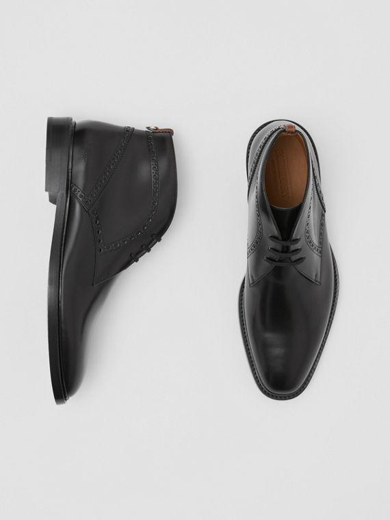 Brogue Detail Leather Boots in Black
