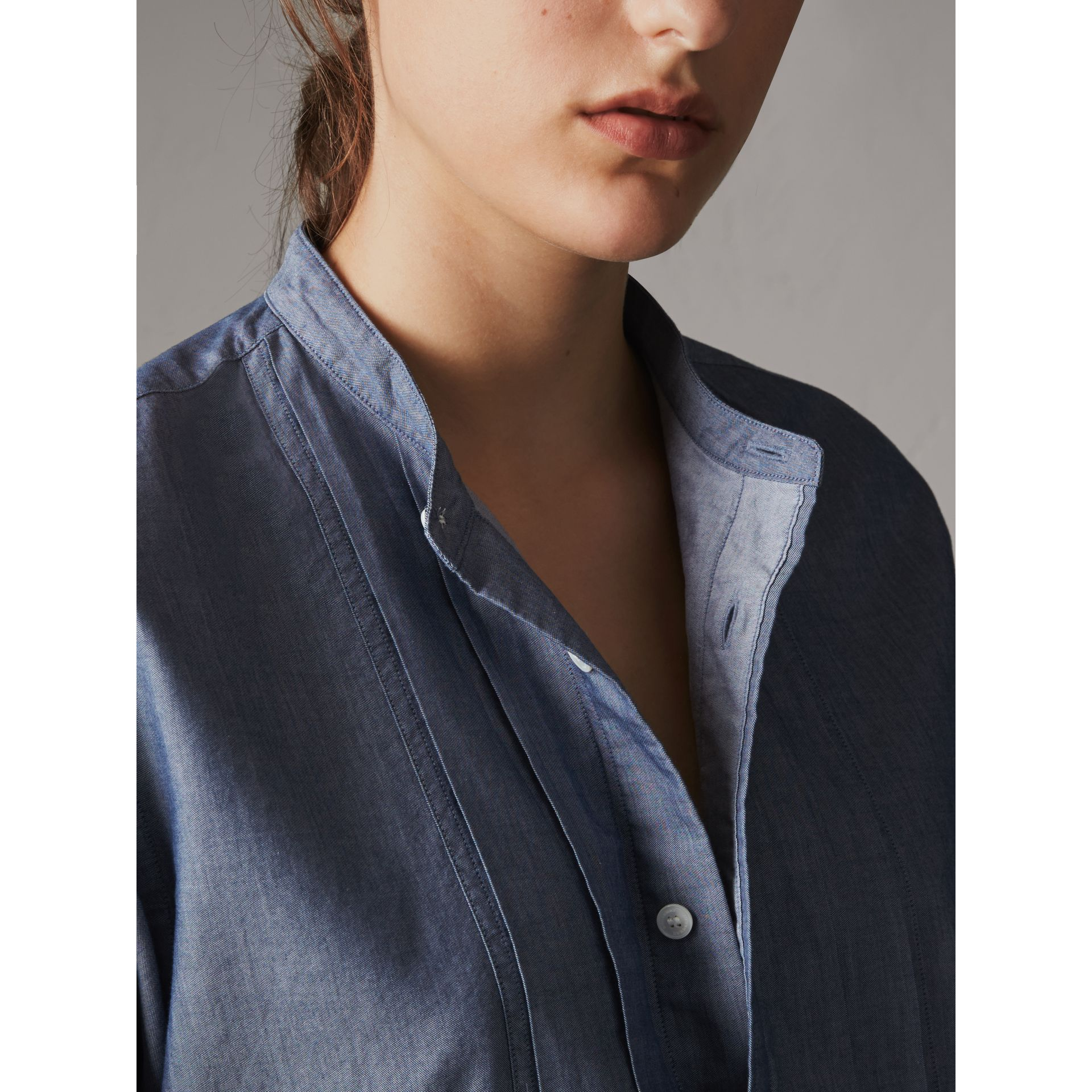 Unisex Grandad Collar Pleated Bib Cotton Shirt in Denim Blue - Women | Burberry - gallery image 2