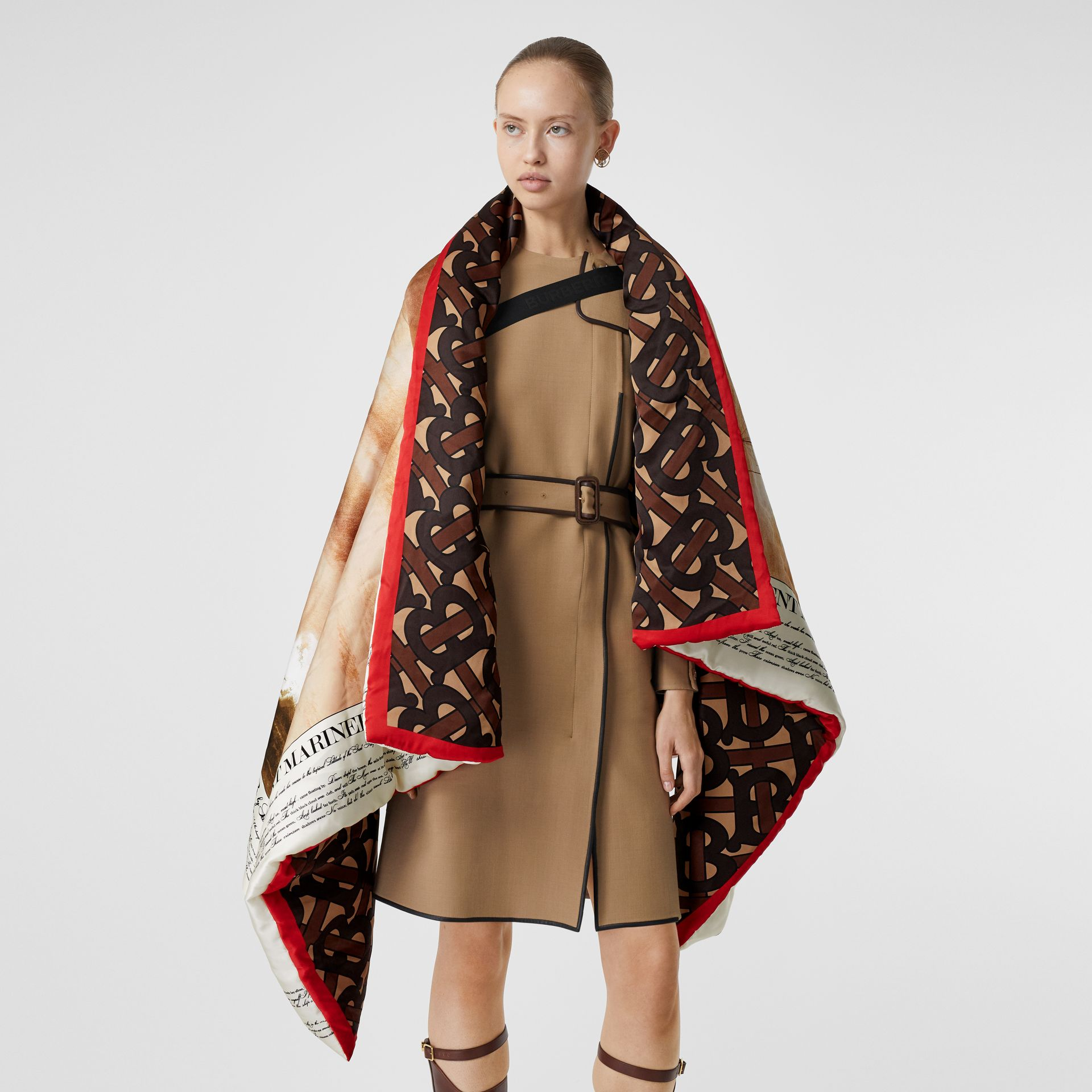 Mariner Print Silk Satin Oversized Puffer Cape in Bridle Brown - Women | Burberry - gallery image 4