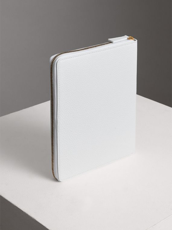 Embossed Leather Ziparound A5 Notebook Case in Chalk White | Burberry - cell image 2