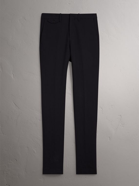 Herringbone Cotton Blend Tailored Trousers in Navy - Men | Burberry - cell image 3