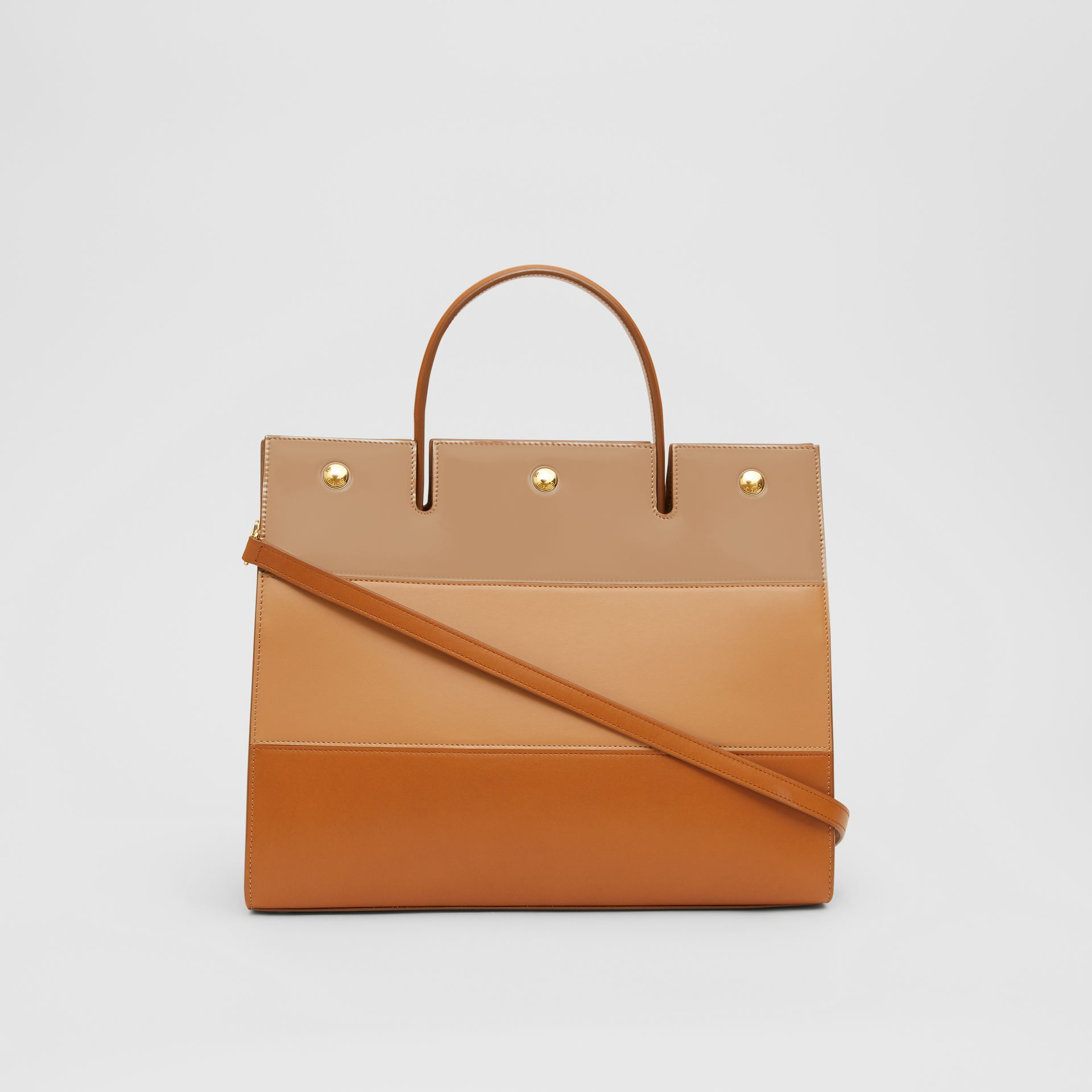 Medium Panelled Leather Title Bag in Soft Fawn - Women | Burberry - gallery image 7