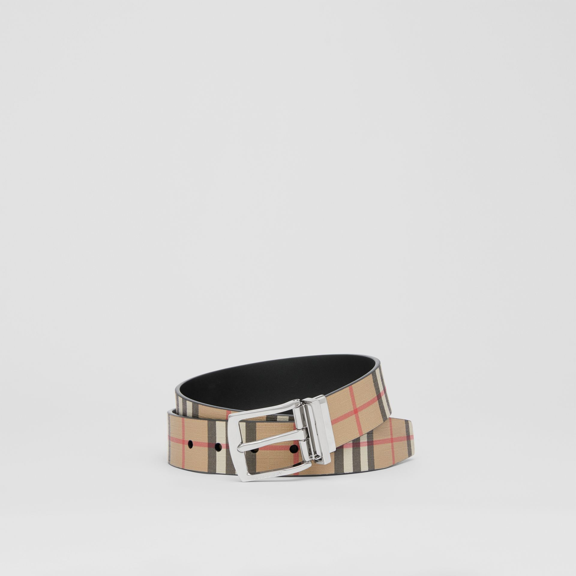 Reversible Vintage Check E-canvas and Leather Belt in Archive Beige - Men | Burberry Singapore - gallery image 0