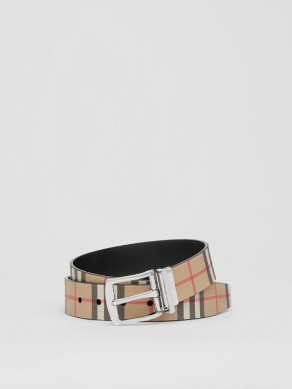 Reversible Vintage Check E-canvas and Leather Belt in Archive Beige