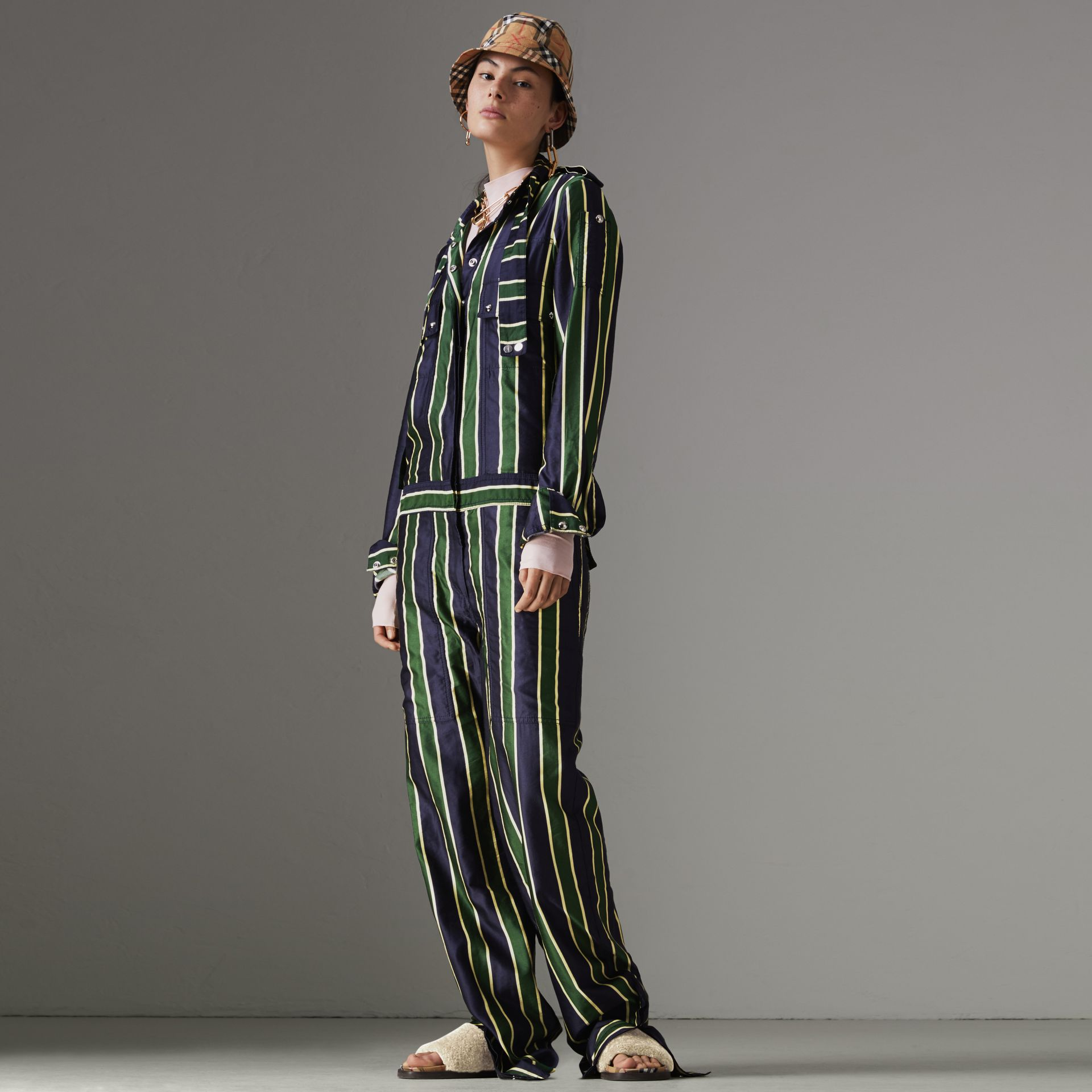 Striped Cotton Silk Jumpsuit in Navy Stripe - Women | Burberry - gallery image 0