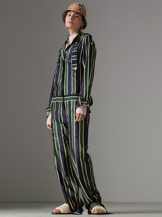 Striped Cotton Silk Jumpsuit in Navy Stripe