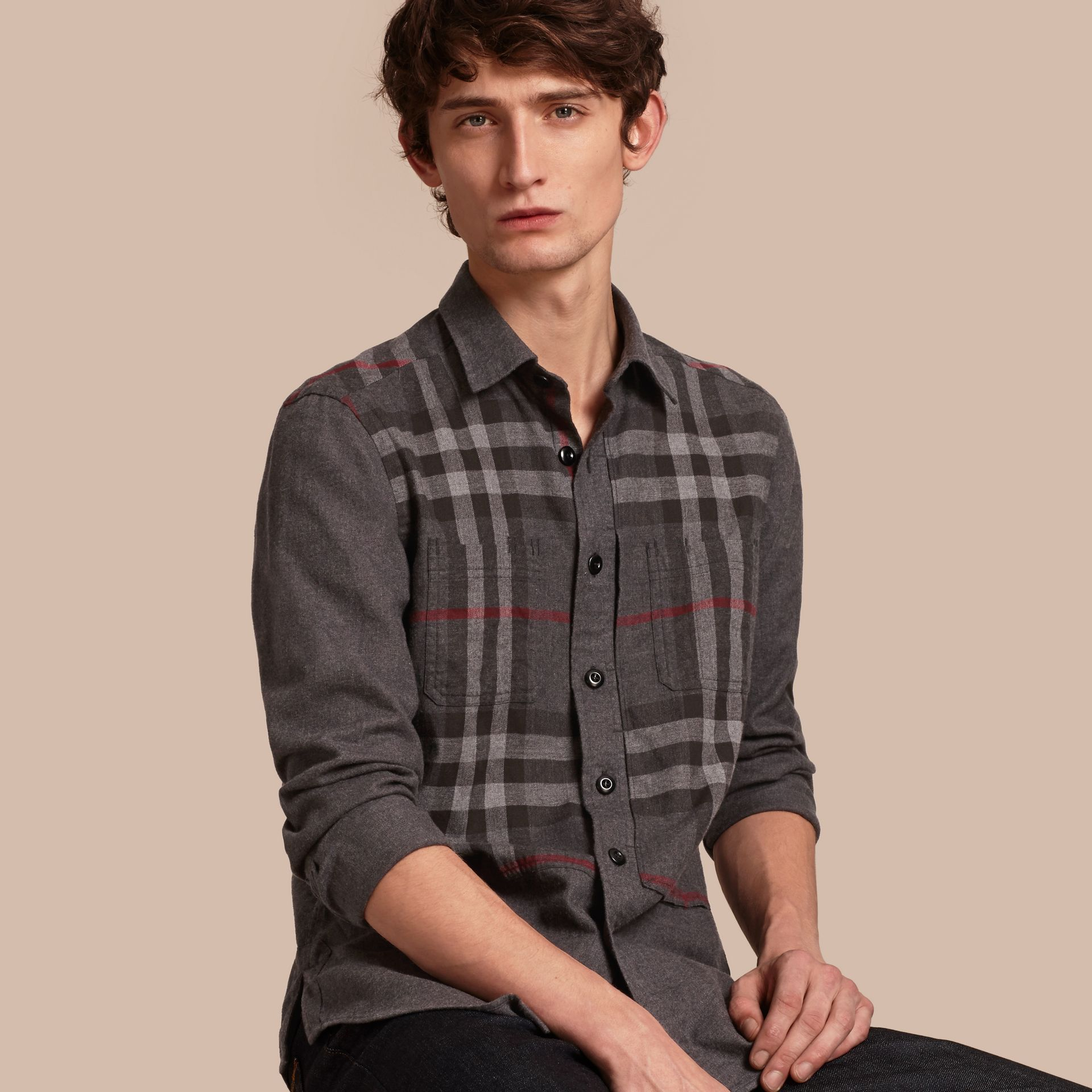 Charcoal melange Check Detail Cotton Flannel Shirt Charcoal Melange - gallery image 1
