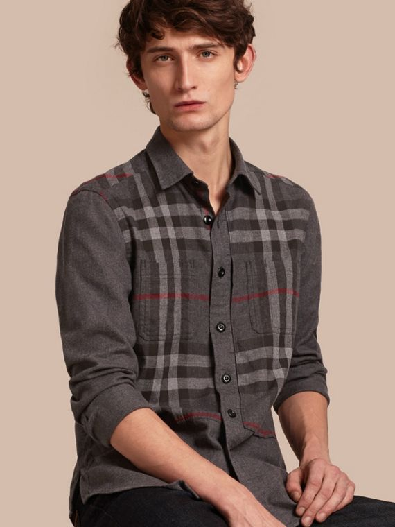 Check Detail Cotton Flannel Shirt Charcoal Melange