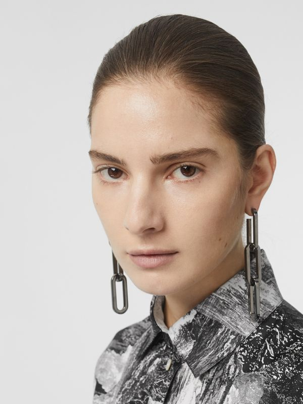 Ruthenium-tone Gold-plated Link Drop Earrings in Gunmetal - Women | Burberry - cell image 2