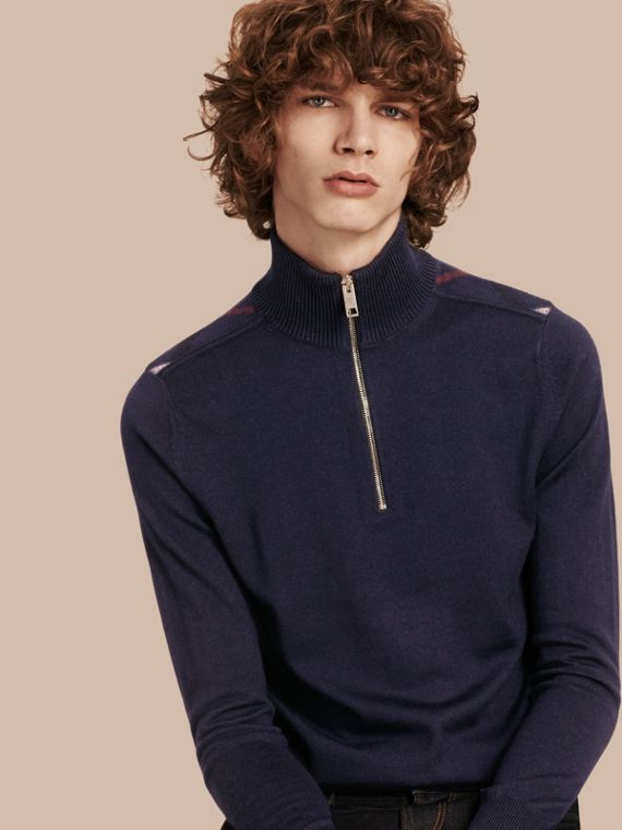 Zip-collar Merino Wool Sweater in Navy