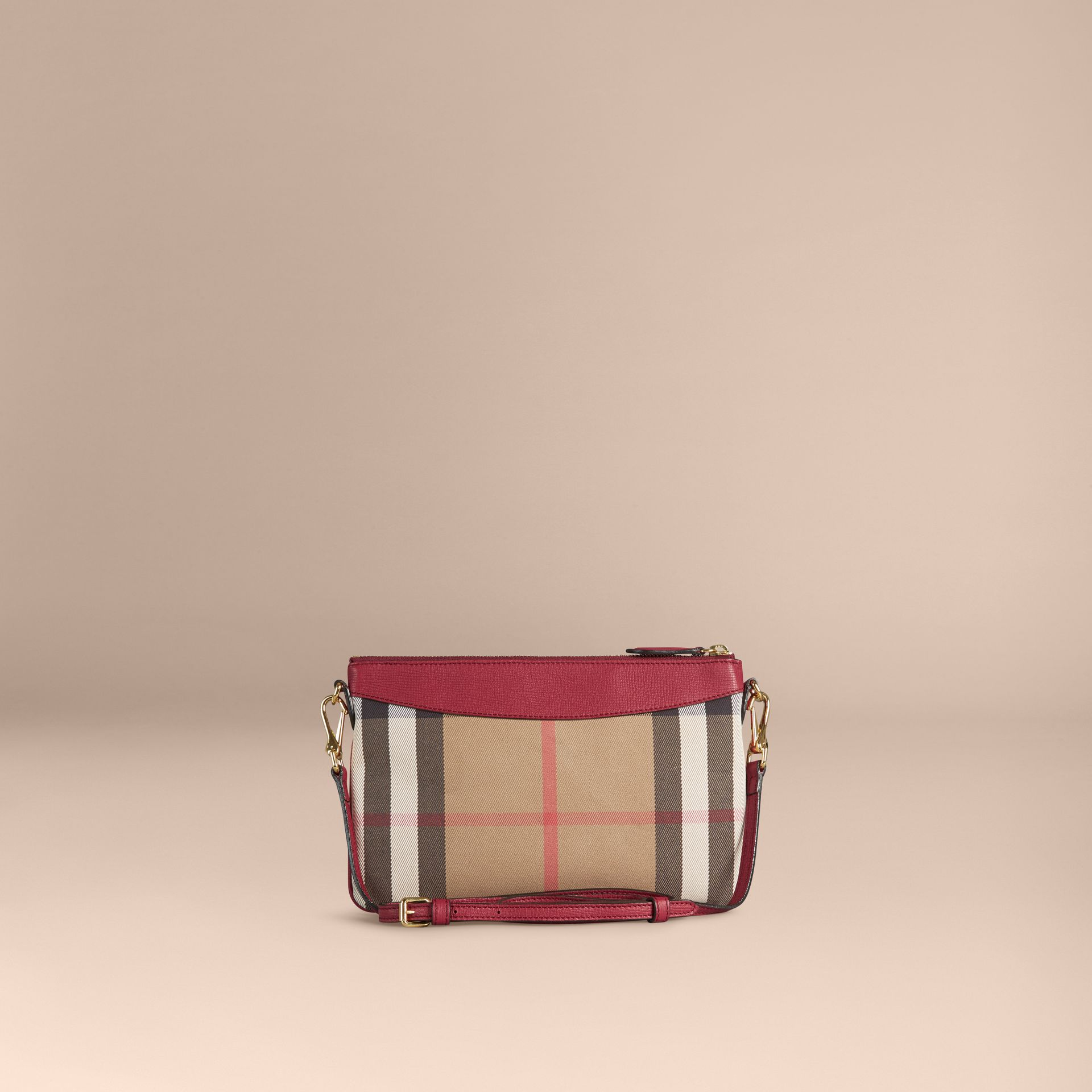 Clutch en coton House check et cuir (Rouge Militaire) - Femme | Burberry - photo de la galerie 2