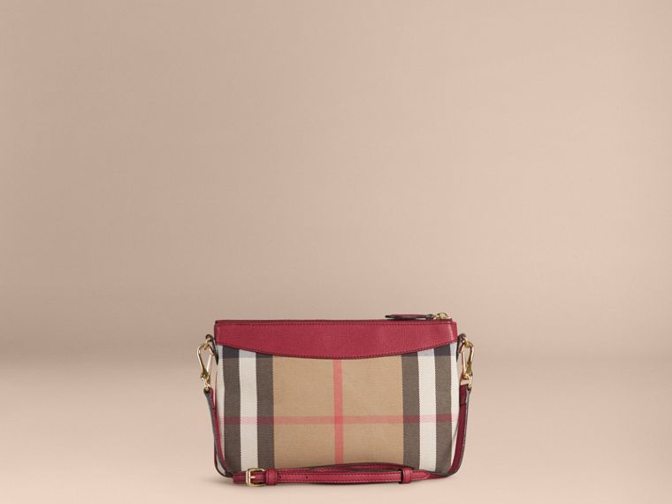House Check and Leather Clutch Bag in Military Red - Women | Burberry - cell image 1