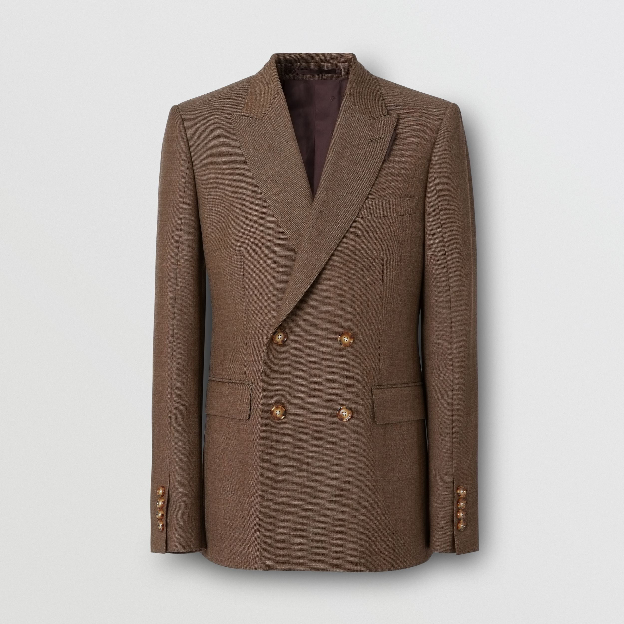 English Fit Sharkskin Wool Double-breasted Jacket in Deep Brown - Men | Burberry United Kingdom - 4