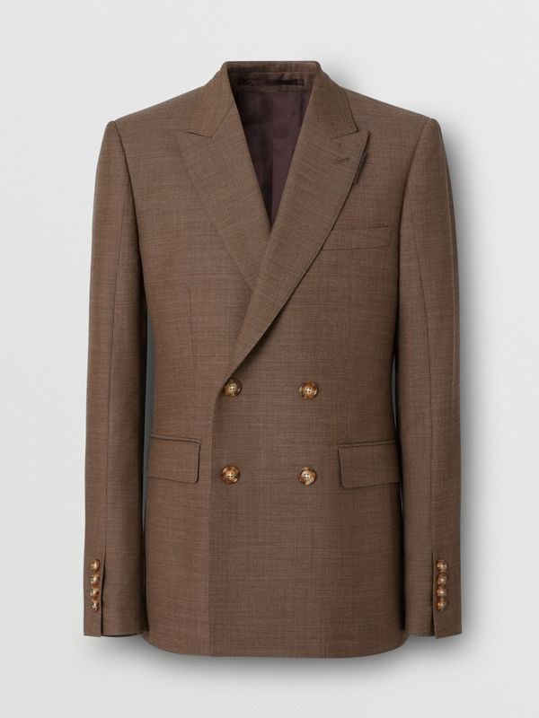 English Fit Sharkskin Wool Double-breasted Jacket in Deep Brown - Men | Burberry - cell image 3