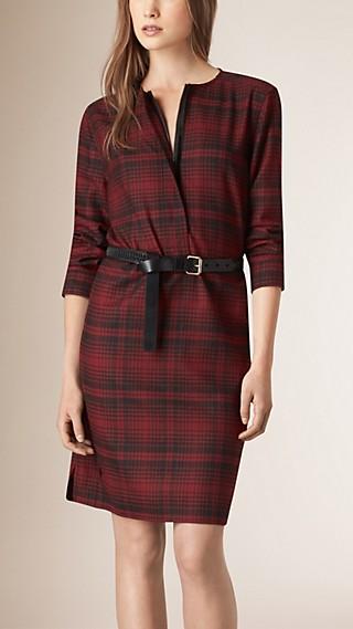 Zip Front Check Wool Dress