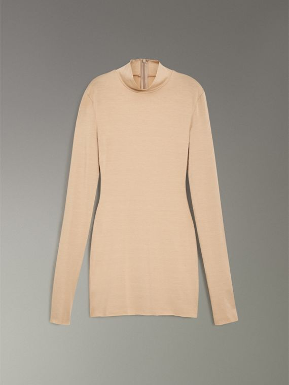 Stretch Modal Silk Turtleneck Top in Honey - Women | Burberry Canada - cell image 3