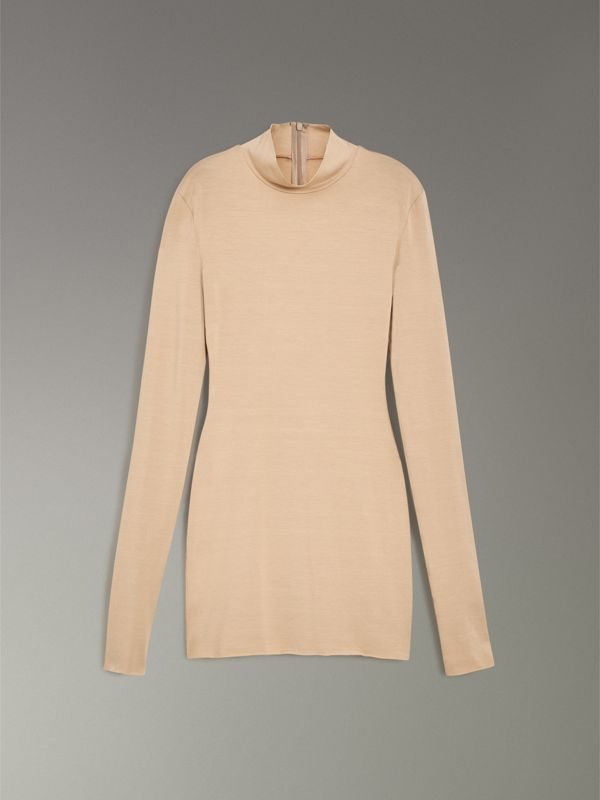 Stretch Modal Silk Turtleneck Top in Honey - Women | Burberry - cell image 3
