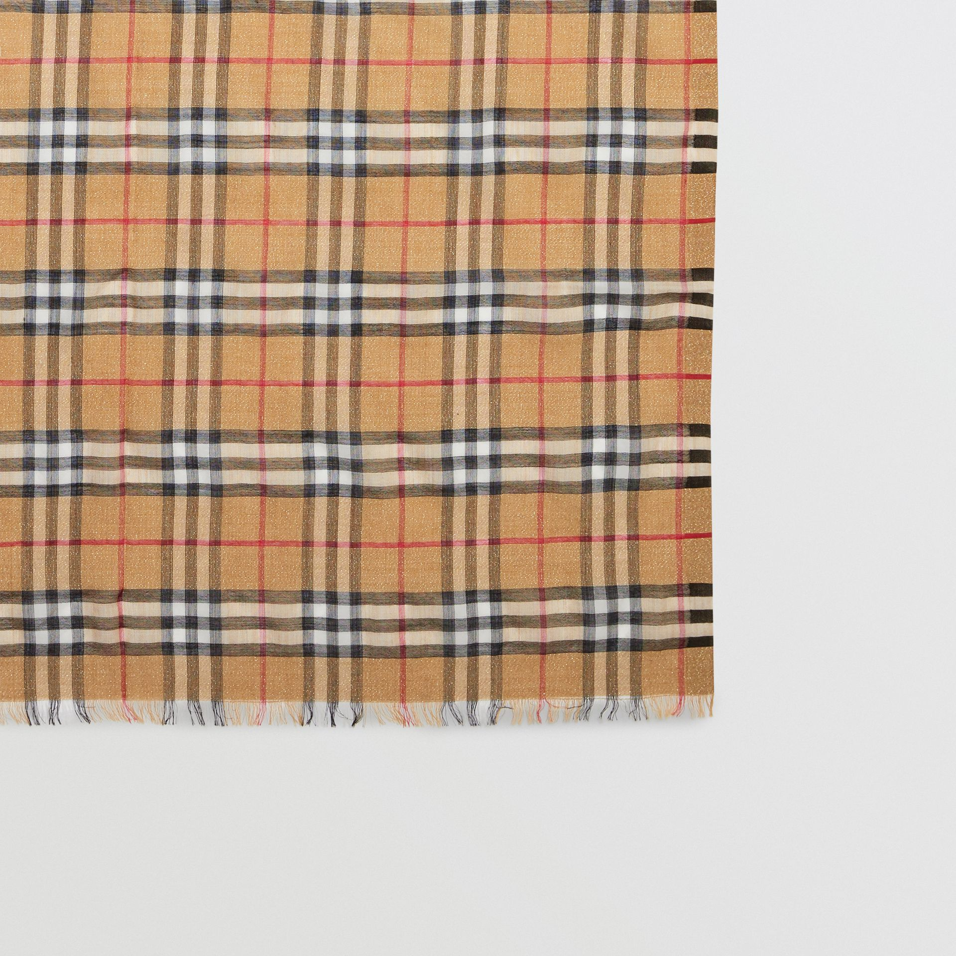 Metallic Vintage Check Wool Silk Blend Scarf in Antique Yellow - Women | Burberry - gallery image 2