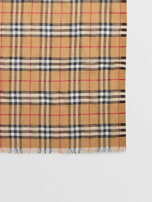 Metallic Vintage Check Wool Silk Blend Scarf in Antique Yellow - Women | Burberry - cell image 2