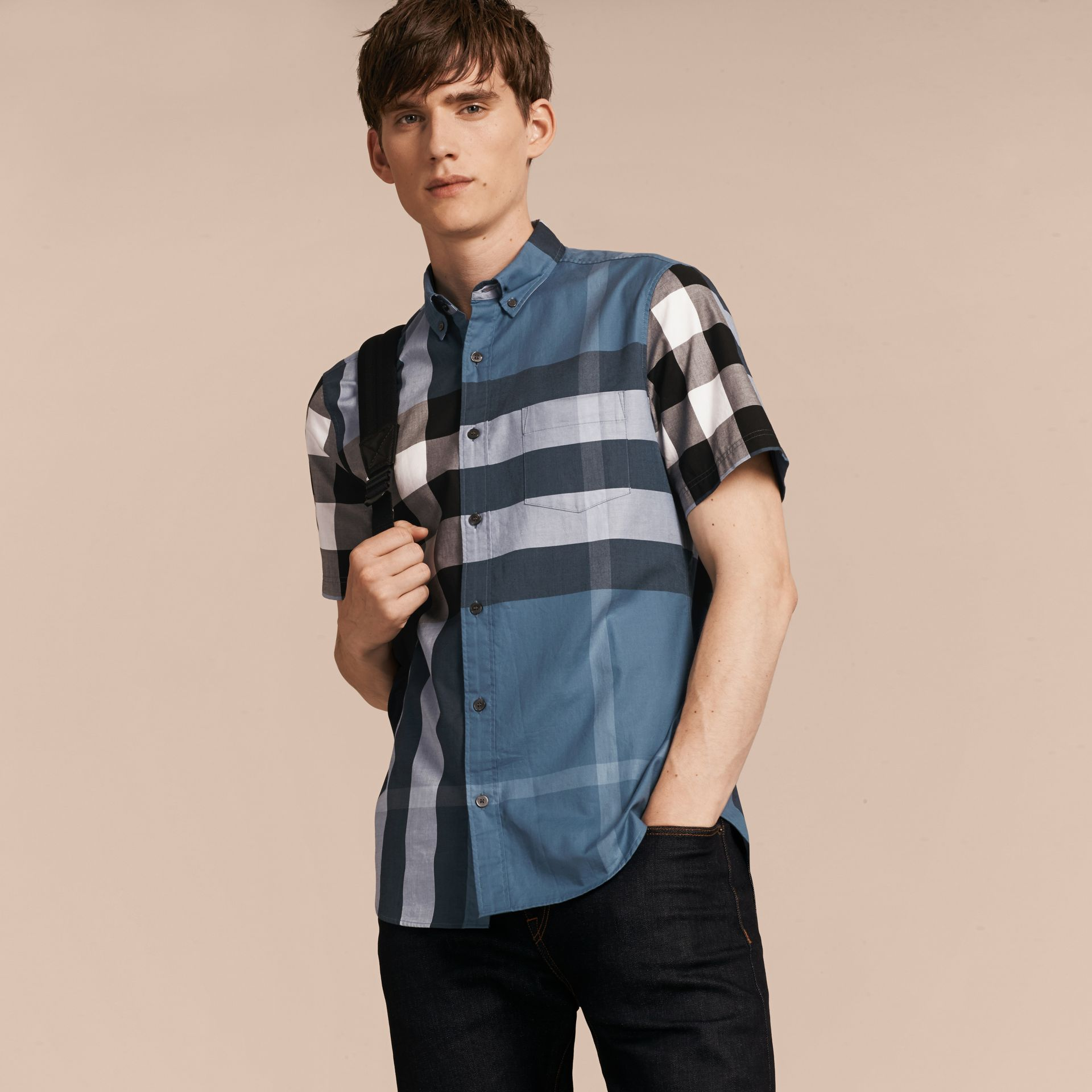 Lupin blue Short-sleeved Check Cotton Shirt Lupin Blue - gallery image 6