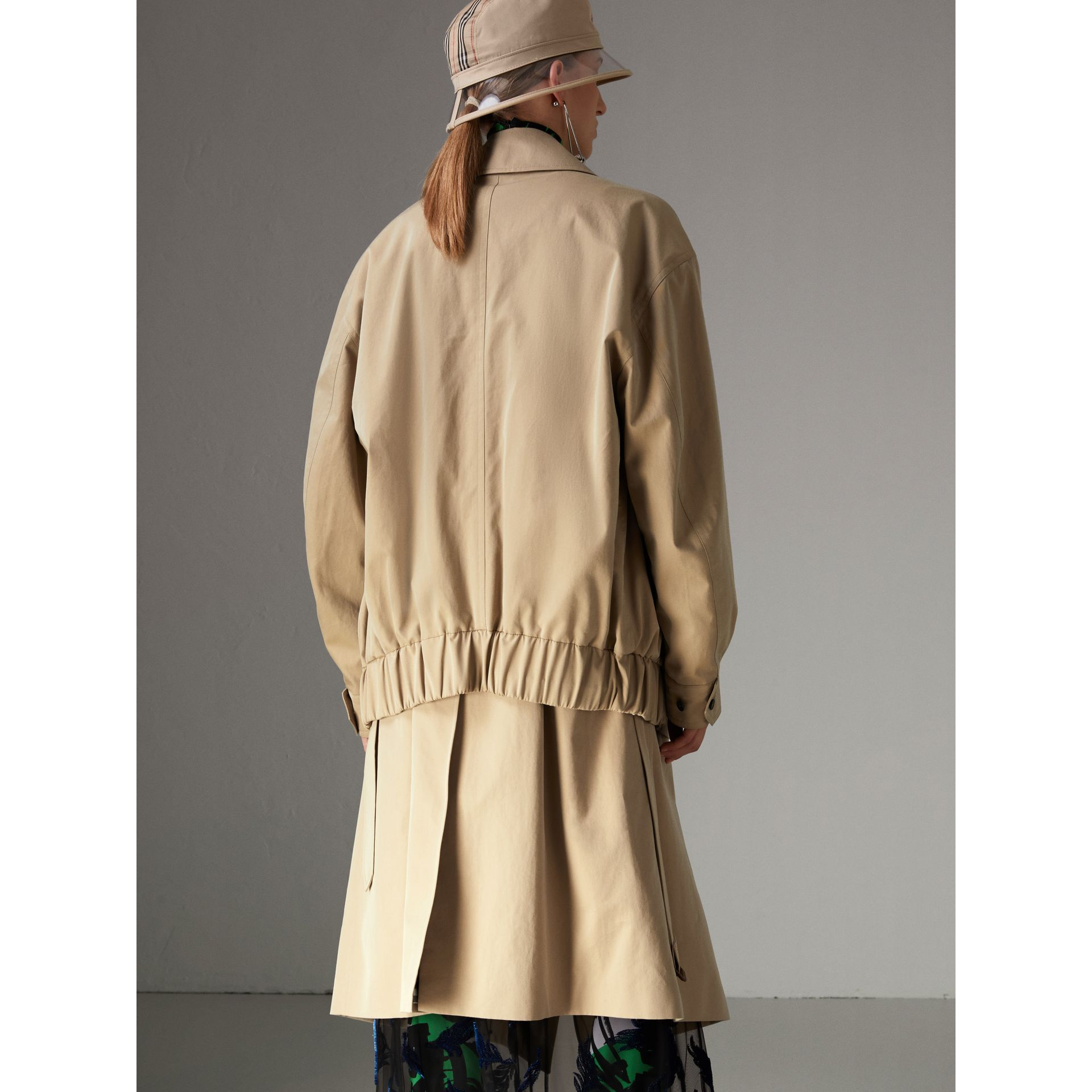 Tropical Gabardine Reconstructed Harrington Jacket in Honey - Women | Burberry - gallery image 2