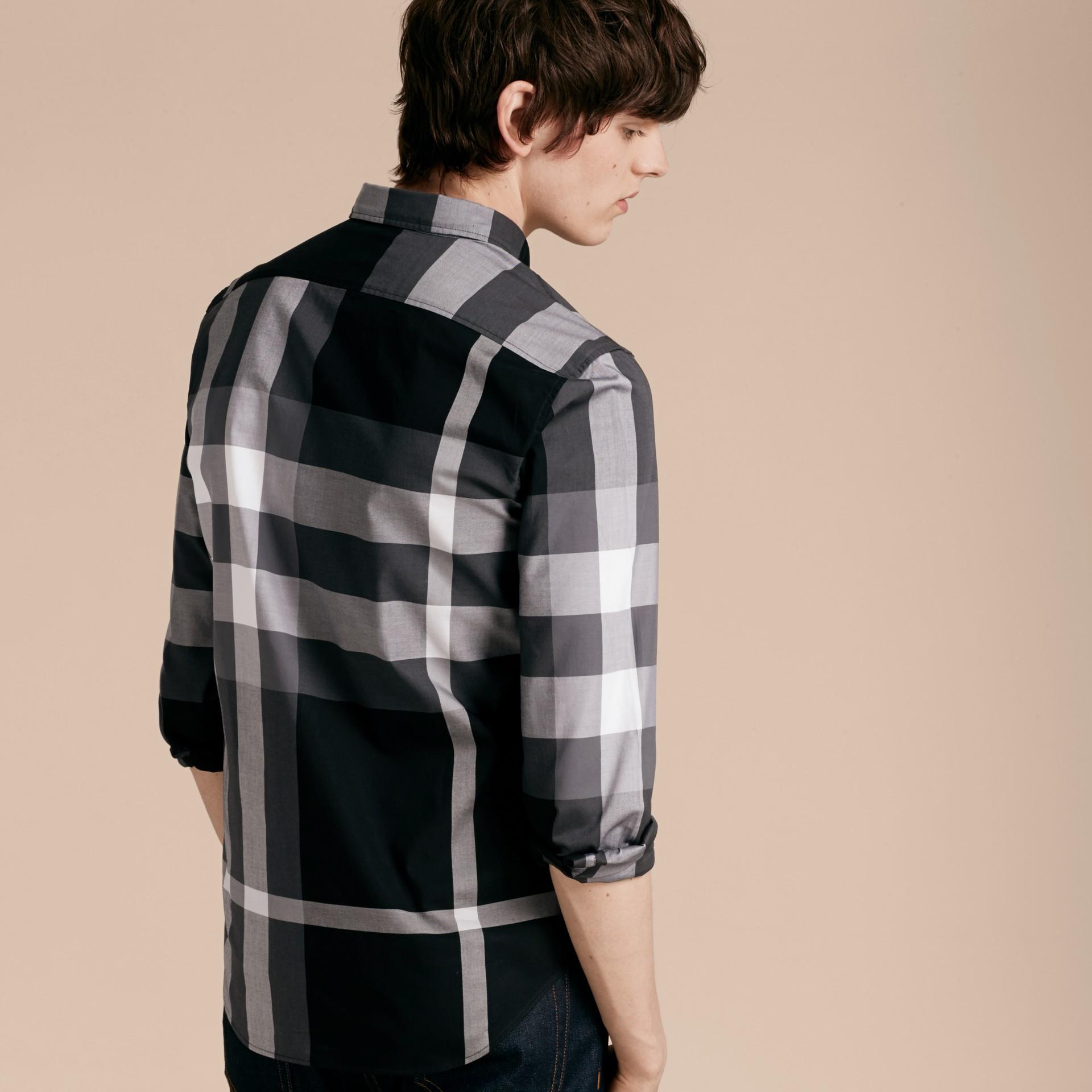 Nero Camicia in cotone con motivo check Nero - immagine della galleria 3
