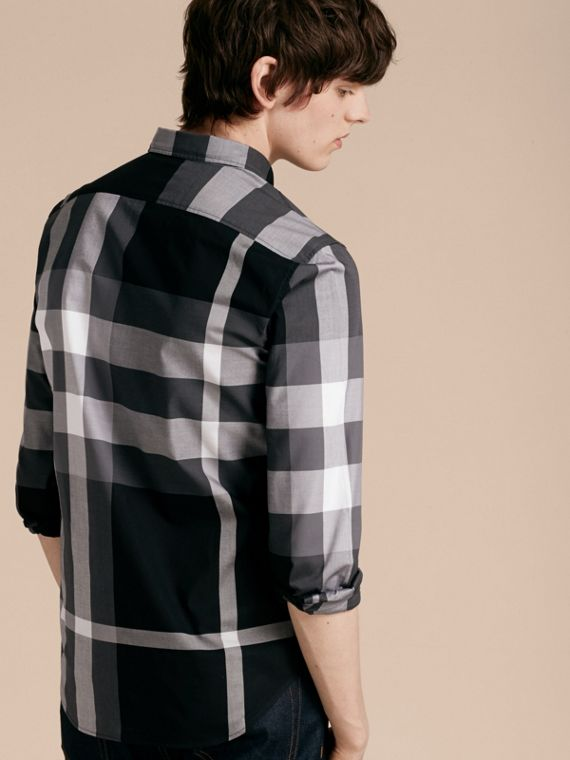 Black Check Cotton Shirt Black - cell image 2