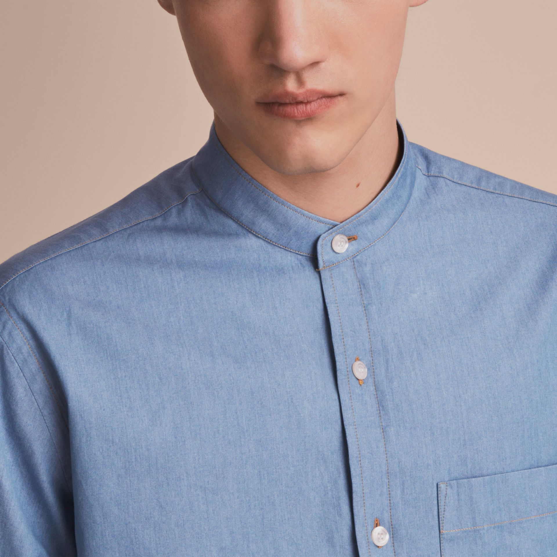Grandad Collar Denim Shirt - gallery image 5