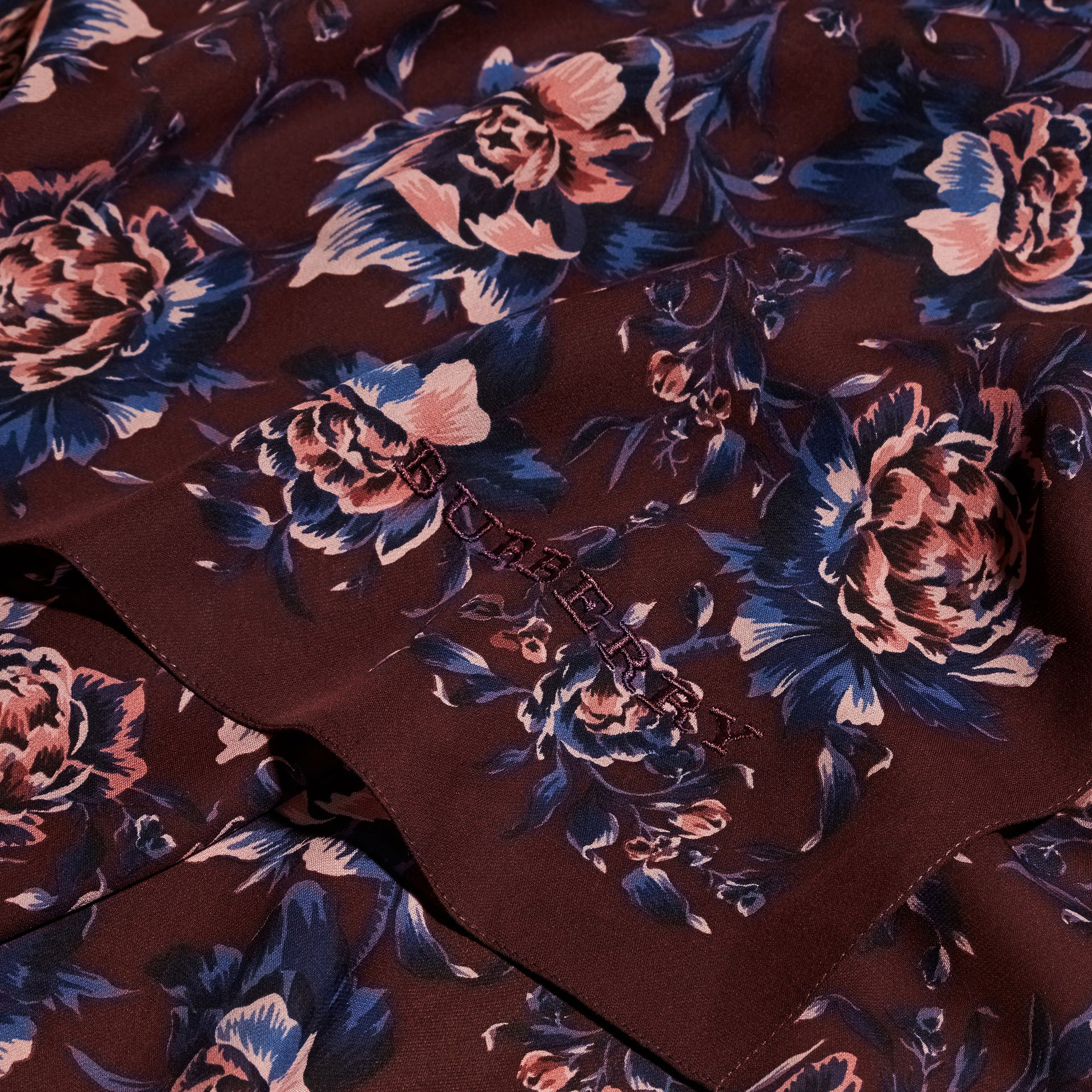 Peony Rose Print Silk Scarf in Deep Claret - Women | Burberry - gallery image 2