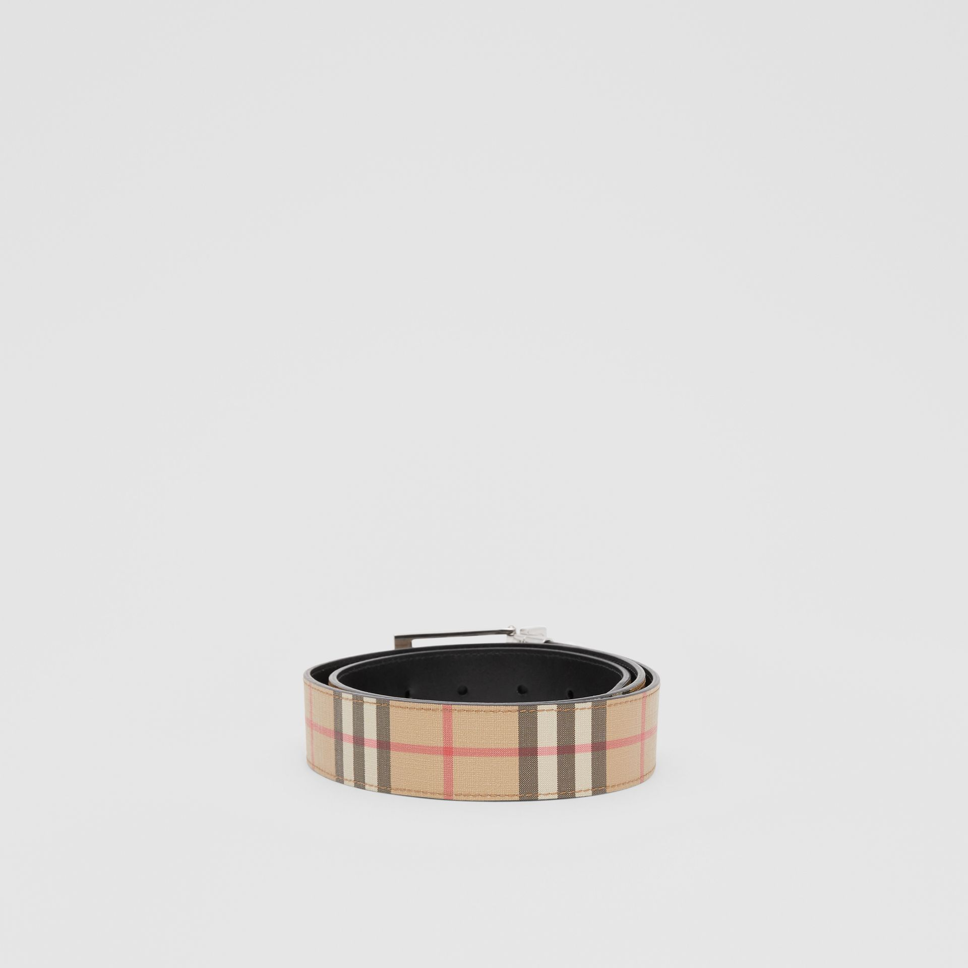 Reversible Vintage Check E-canvas and Leather Belt in Archive Beige/black - Men | Burberry - gallery image 3