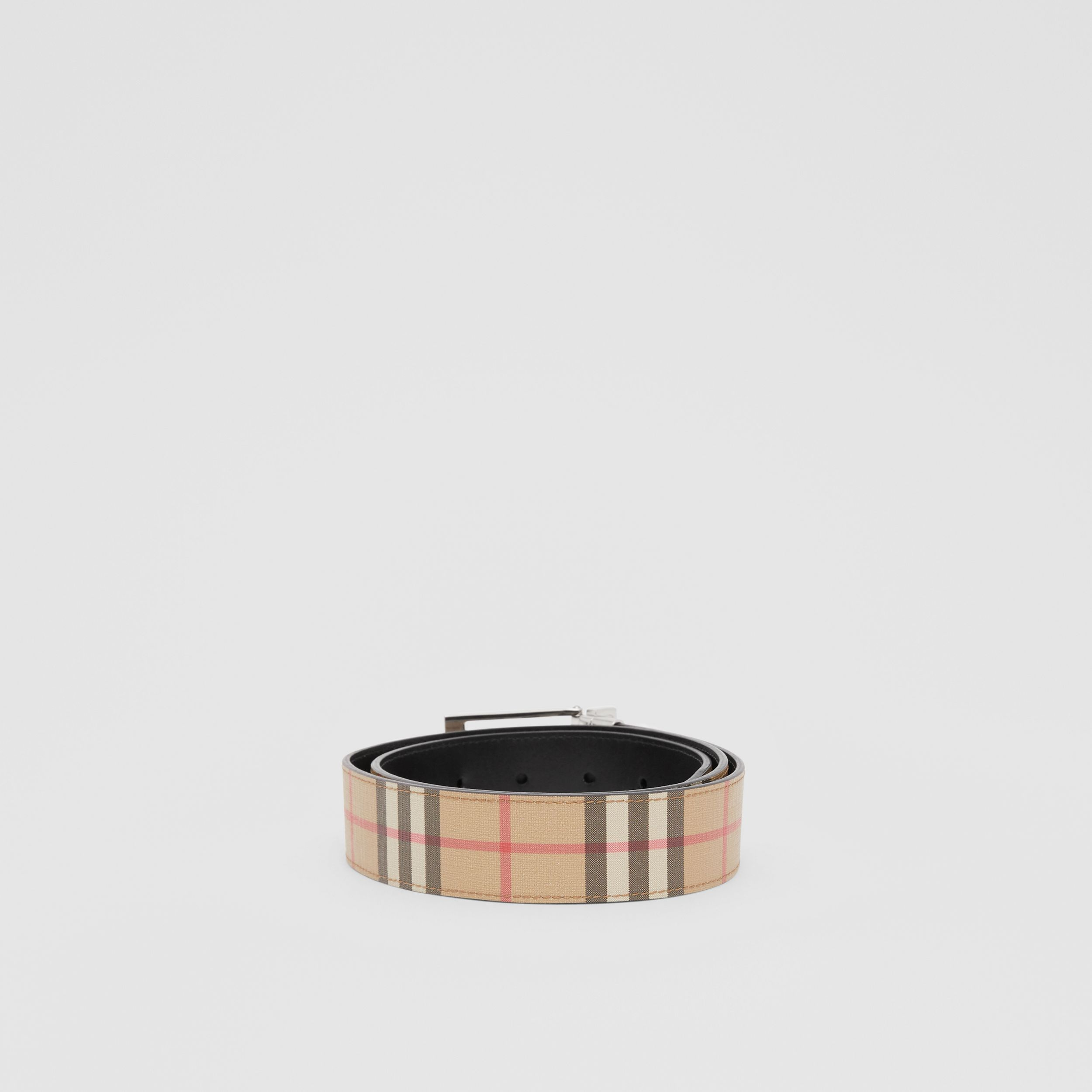 Reversible Vintage Check E-canvas and Leather Belt in Archive Beige/black - Men | Burberry Canada - 4