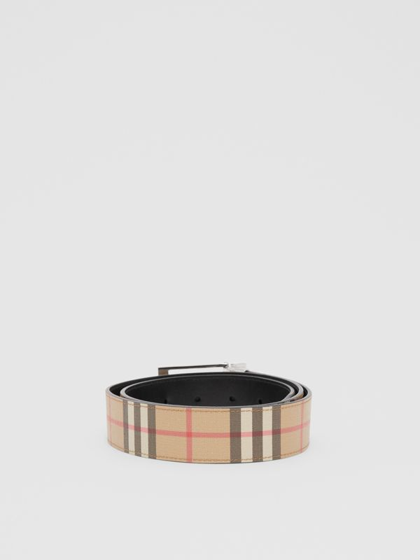 Reversible Vintage Check E-canvas and Leather Belt in Archive Beige/black - Men | Burberry - cell image 3