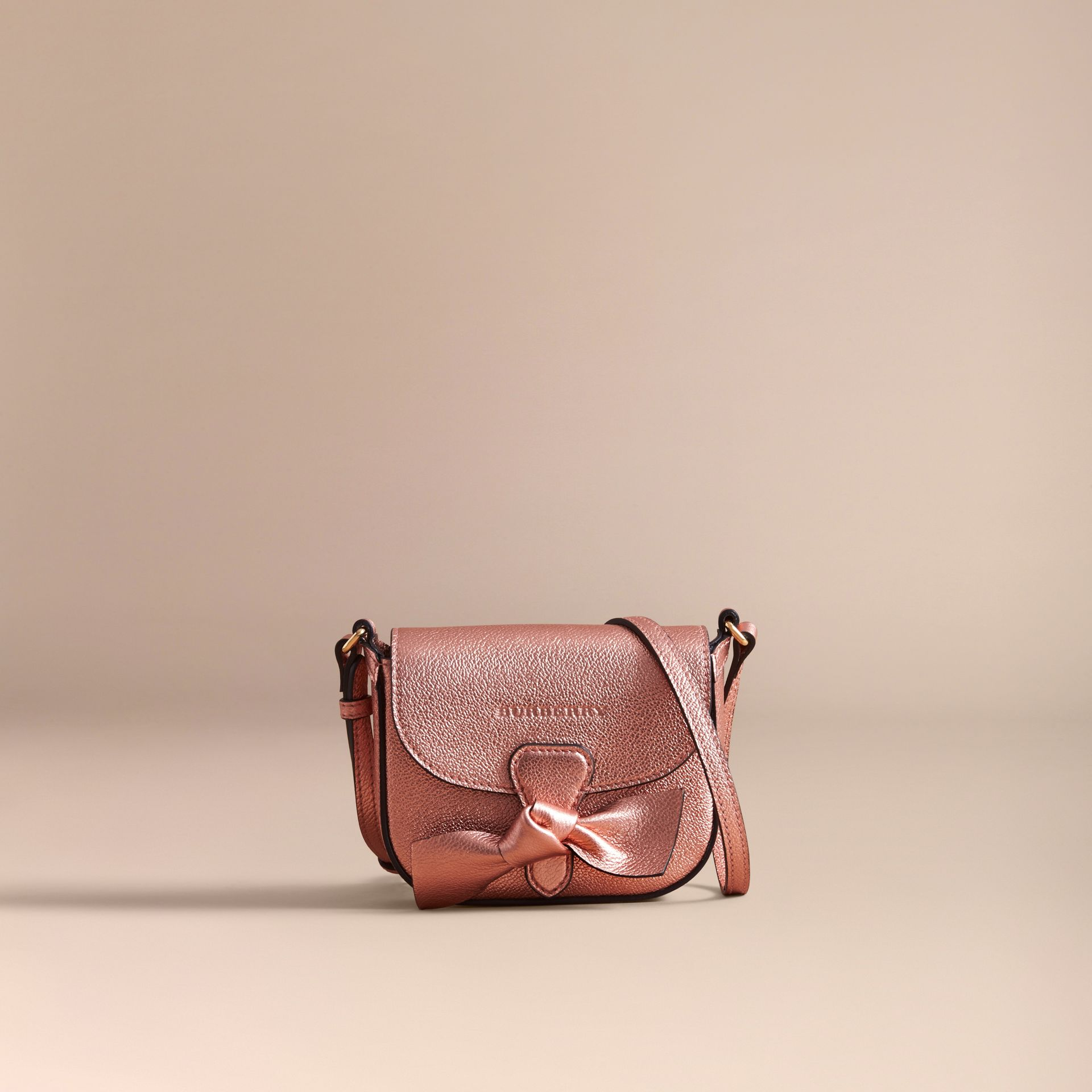 Metallic Leather Crossbody Bag in Copper Pink | Burberry - gallery image 4