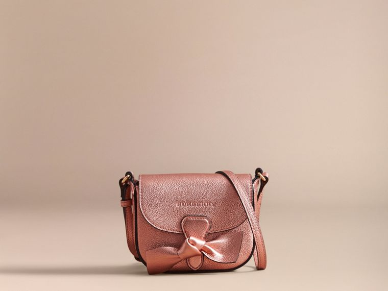 Metallic Leather Crossbody Bag in Copper Pink - Girl | Burberry - cell image 4