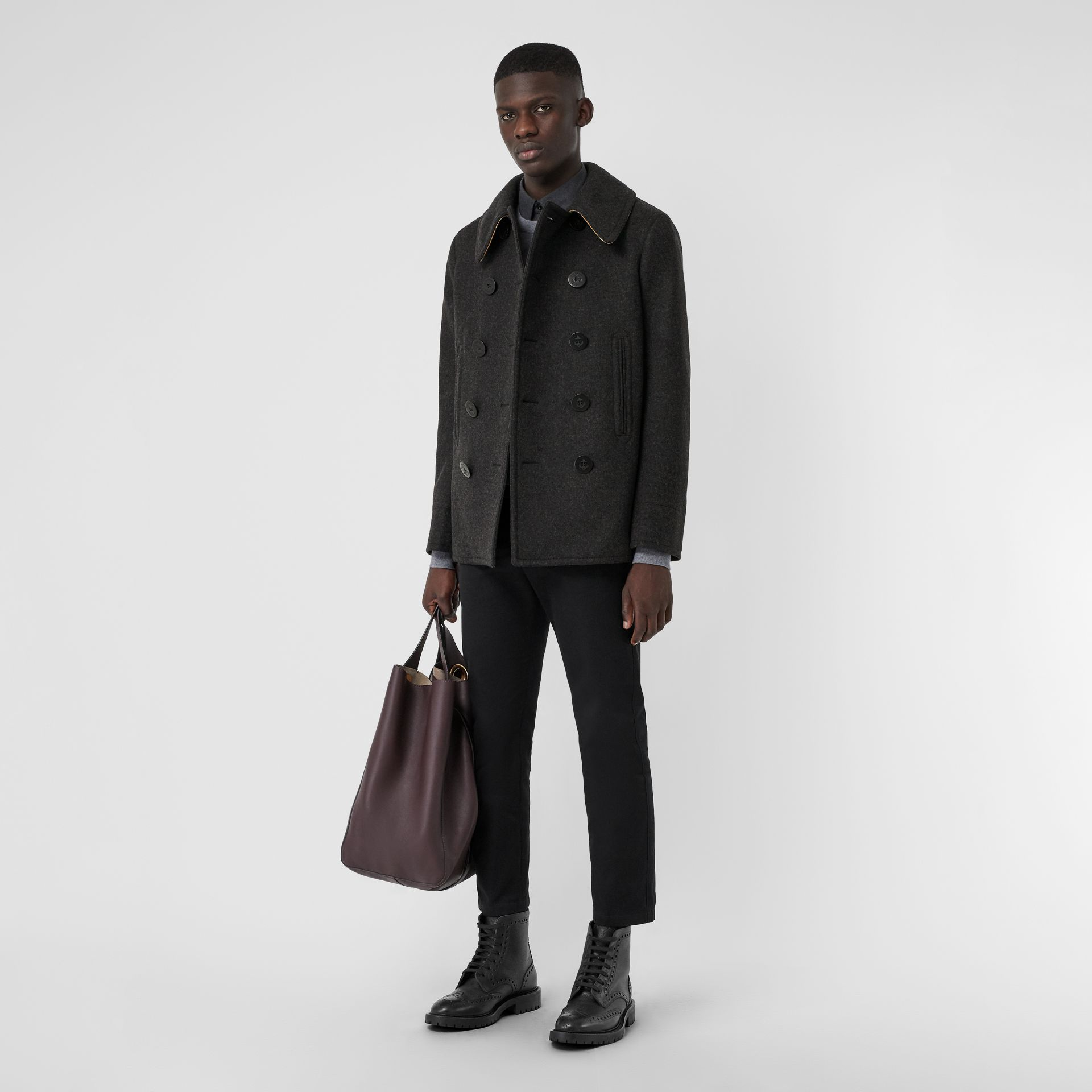 Wool Blend Pea Coat in Dark Charcoal Melange - Men | Burberry United Kingdom - gallery image 0