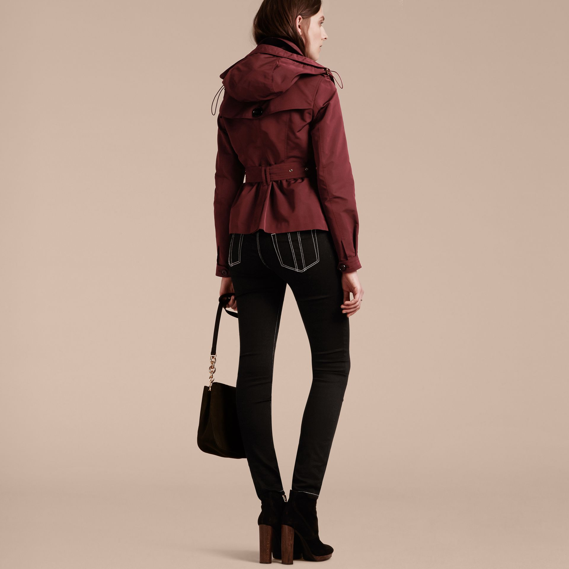 Deep claret Showerproof Taffeta Trench Jacket with Detachable Hood Deep Claret - gallery image 3