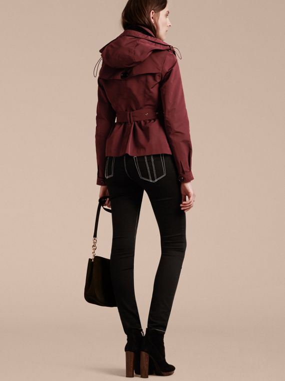 Deep claret Showerproof Taffeta Trench Jacket with Detachable Hood Deep Claret - cell image 2