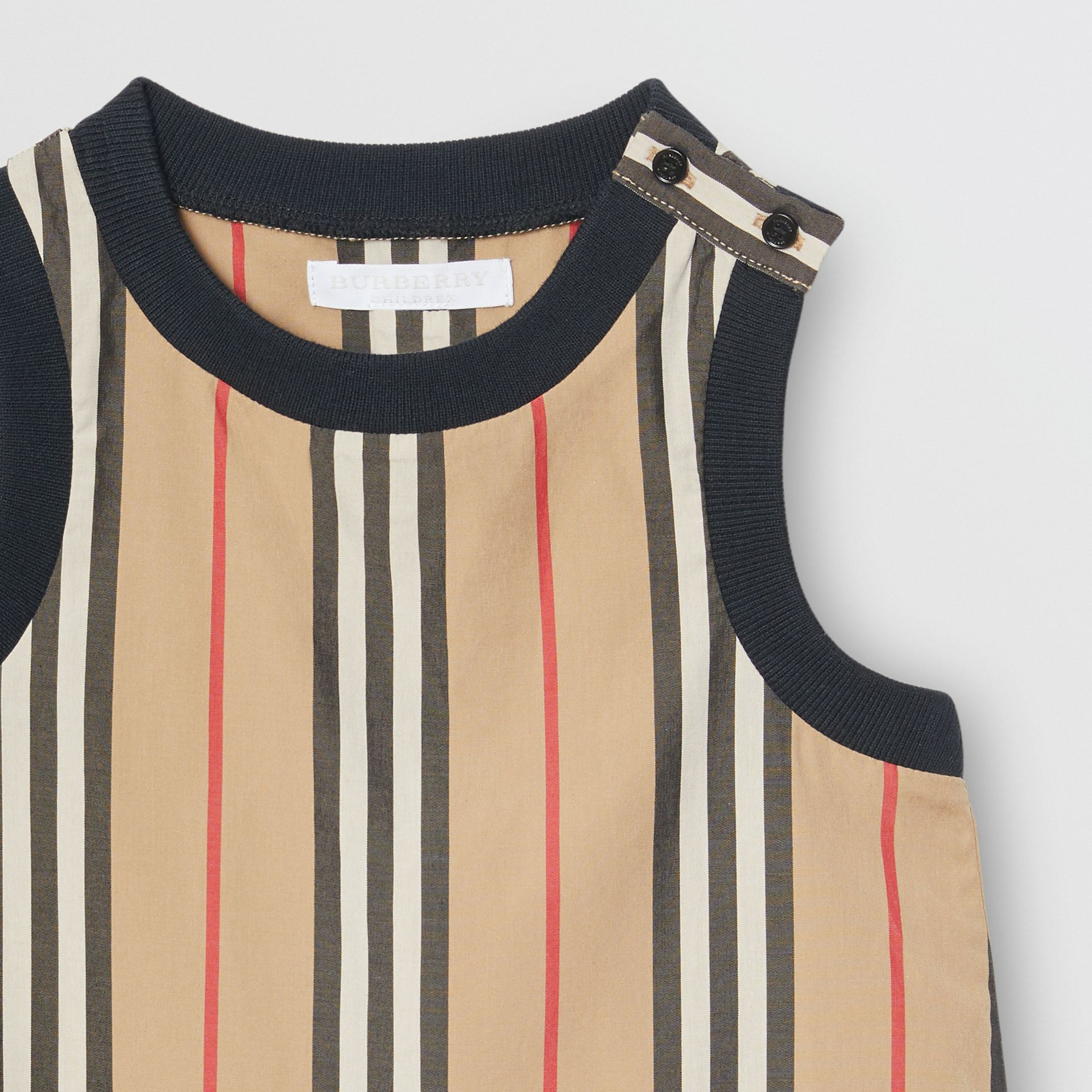 Icon Stripe Cotton Bodysuit in Archive Beige - Children | Burberry - gallery image 5
