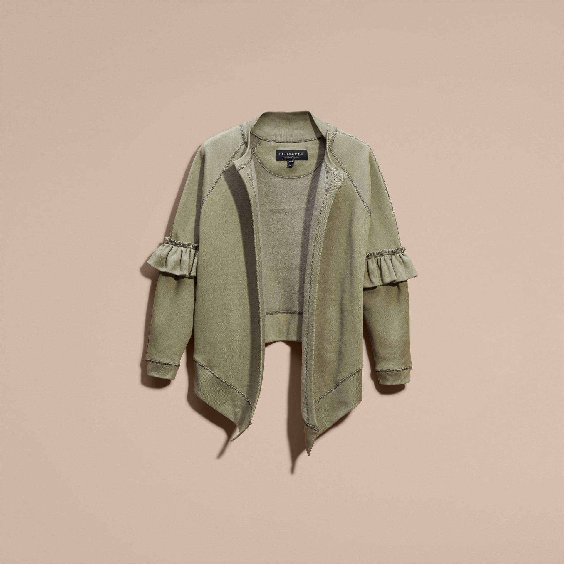 Cotton Blend Sweatshirt Jacket with Ruffle Sleeves in Khaki - gallery image 4