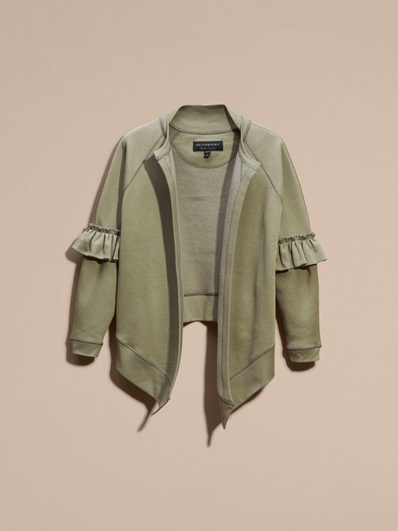 Cotton Blend Sweatshirt Jacket with Ruffle Sleeves in Khaki - cell image 3