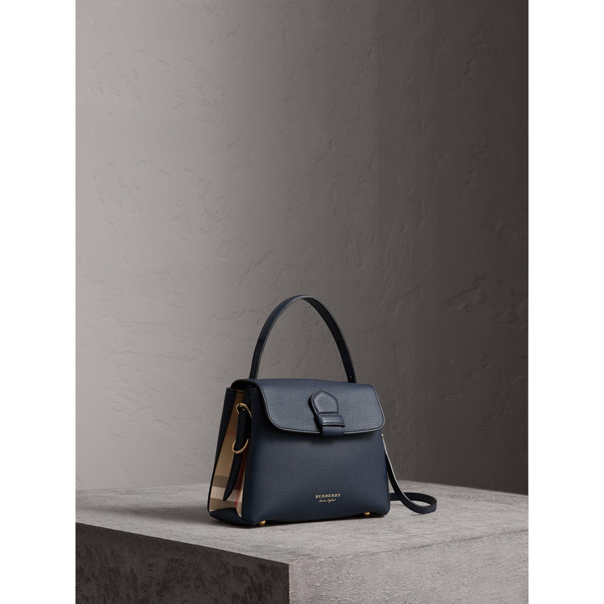 Small Grainy Leather and House Check Tote Bag in Ink Blue - Women | Burberry - gallery image 0