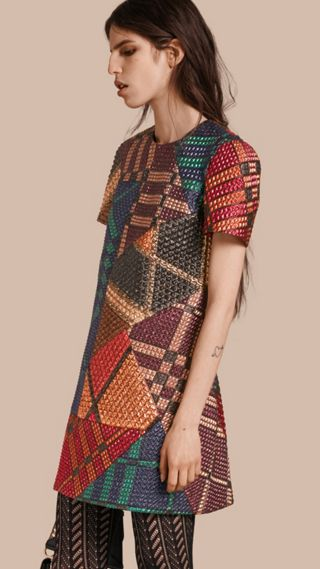 Robe tissée en jacquard à motif check en patchwork