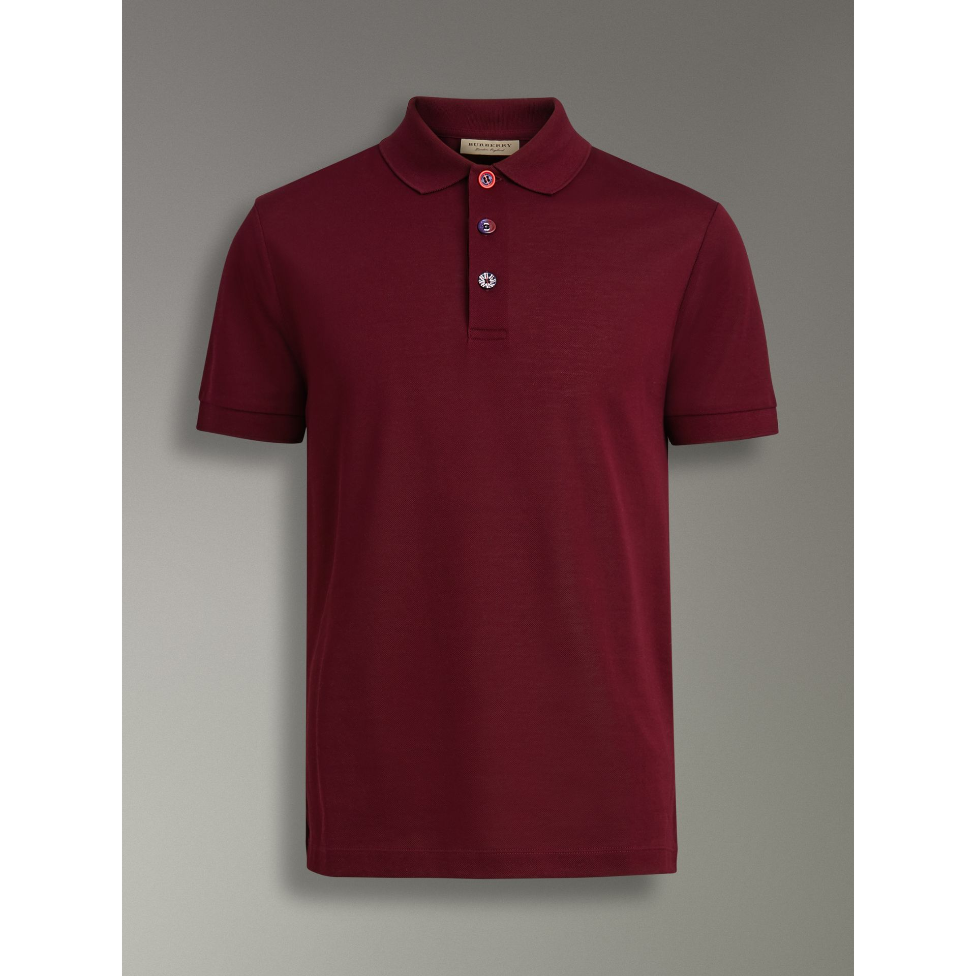 Painted Button Cotton Piqué Polo Shirt in Burgundy Red - Men | Burberry - gallery image 3
